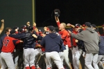 Celebration on top of the pitchers mound after the final out.