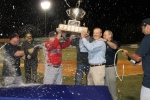 Arnie Beyeler and Mike Tamburro getting sprayed following the post-game ceremonies.
