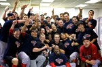 Inside the PawSox clubhouse at Knights Stadium.