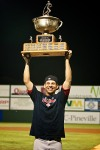 Third baseman Danny Valencia with the Governors' Cup