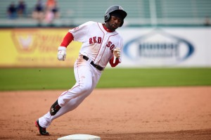 Jackie Bradley Jr. scored three times Sunday, incuding on an RBI double by Justin Henry in the 5th