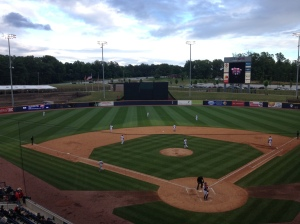 The view from the booth of Coolray Field
