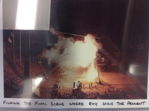 Picture of the final scene with the exploding light standard. The only shot they did less than 10 times...this only took 2 takes!