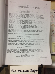 The original script to the movie...the scene pictured never actually took place in the final movie