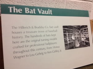 The inner sanctum of the Bat Factory...the Vault! Where the original model of every bat they've ever made lives. I HELD a Yogi Berra prototype.