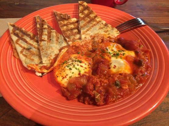 My favorite, the Huevos Rancheros with black bean toast