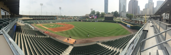 A panoramic shot from the Home Run Porch in right. This place was ROCKIN' on Thursday night...Dollar Beer Night