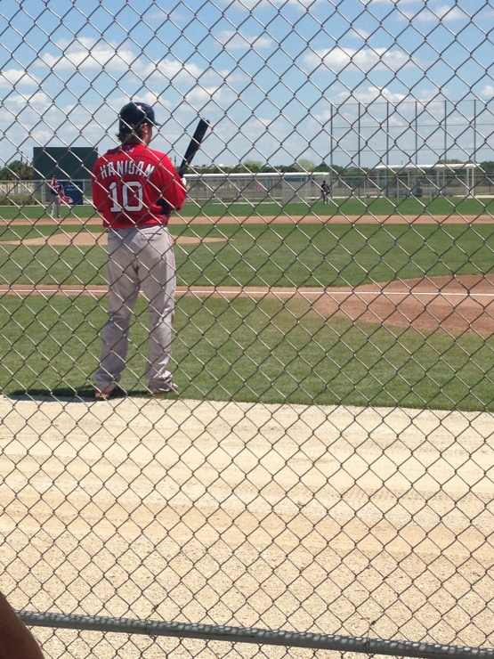 Ryan Hanigan in a familiar spot - the on-deck circle.  He batted six times in seven innings.