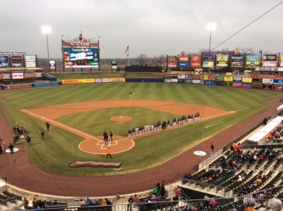 An annual tradition: the PawSox take the first base line before the opener