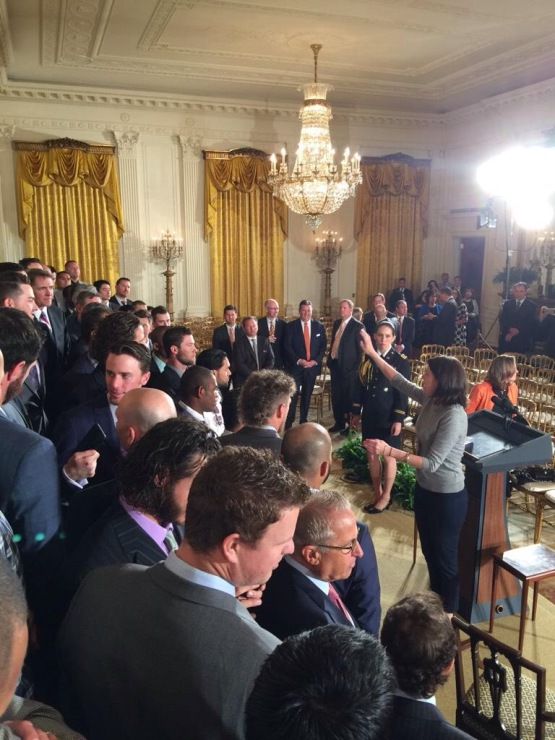 The voice of the PawSox from 01-3 stands behind Matt Cain in the East Room as the Giants get ready for the President