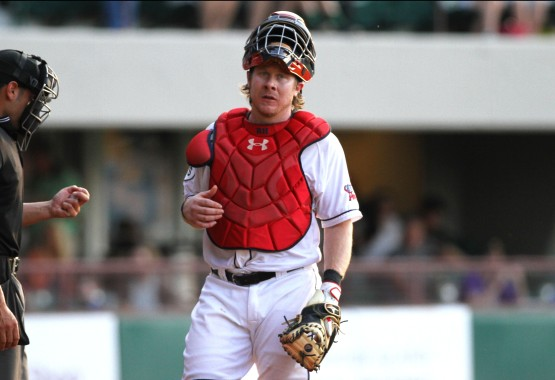 Ryan Hanigan caught five innings and had 3 ABs Monday night (Jillian Souza)