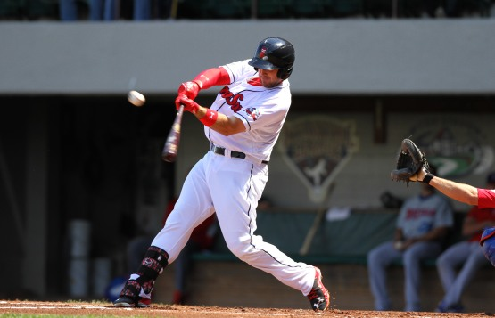 This is the kind of swing that got Travis Shaw back to the big leagues.